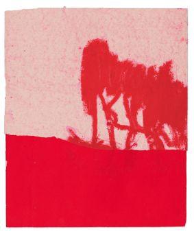 Serie (5 Blätter) Ohne Titel (Rote Bäume)